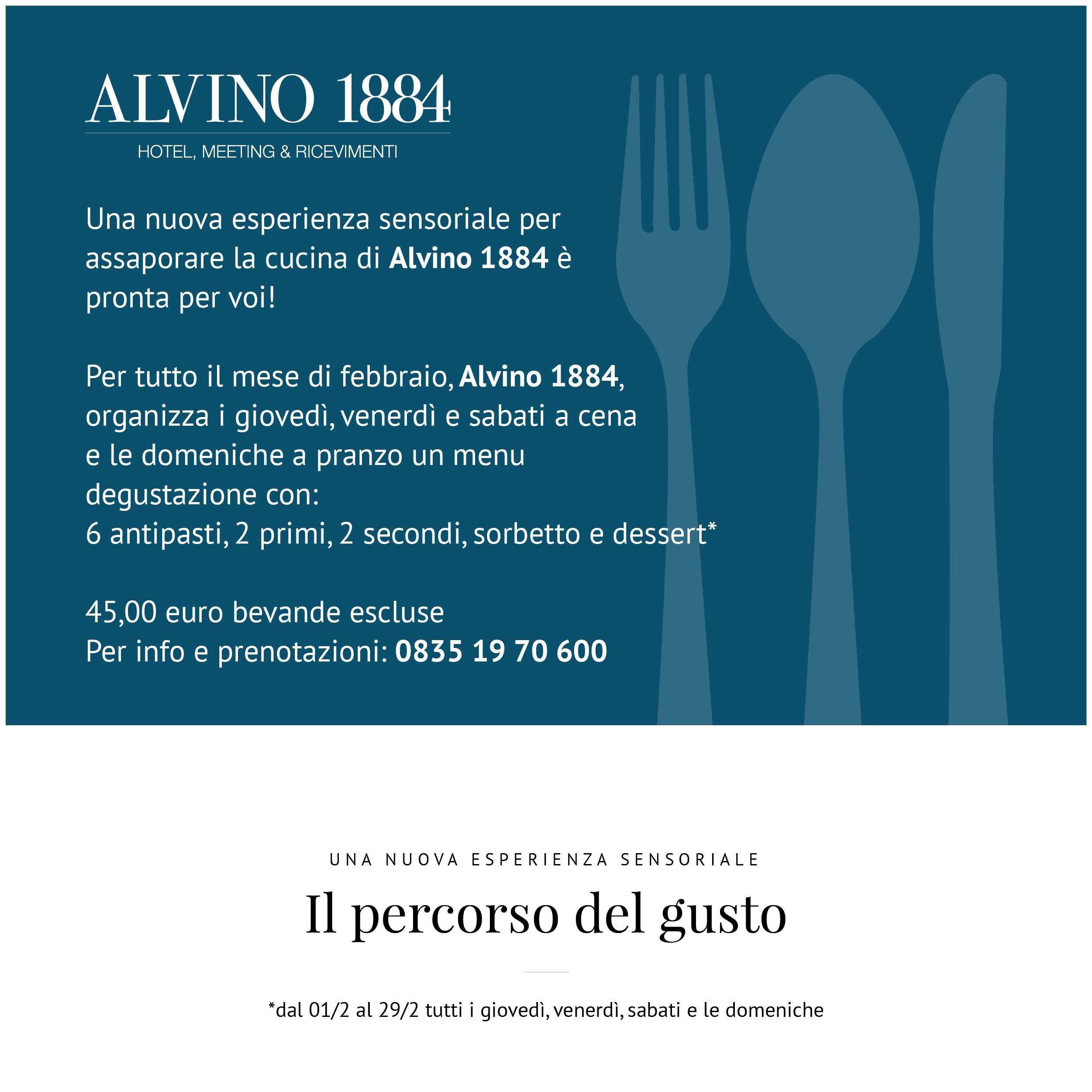 Alvino 1884 - Evento, Il percorso del gusto
